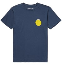 Mollusk Slim Fit Printed Cotton Jersey T Shirt Blue