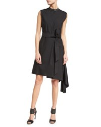 Brunello Cucinelli Belted Asymmetric Hem Shirtdress Black