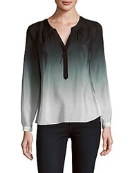Milly Ombre Placket Blouse Black