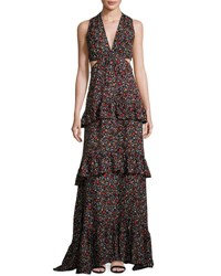 A.L.C. Brie Tiered Floral Silk Maxi Dress Black Multicolor