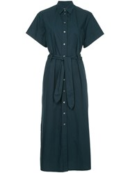 Maison Kitsune Loose Fit Shortsleeved Shirt Dress Blue