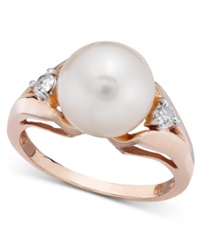 Macy's Cultured Freshwater Pearl 9 1 2Mm And Diamond 1 8 Ct. T.W. Ring In 14K Rose Gold Black