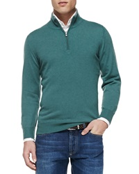 Brunello Cucinelli 2 Ply Cashmere Half Zip Sweater Green