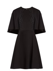 Giambattista Valli Lace Embroidered Cape Back Cady Dress Black