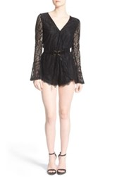 Dirty Ballerina Lace Long Sleeve Romper Black