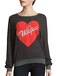 Wildfox Couture Heart Printed Long Sleeve Pullover Dirty Black