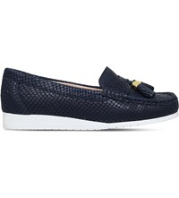 Carvela Comfort Cost Snakeskin Embossed Leather Loafers Navy