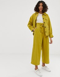Native Youth Relaxed Trousers With Paper Bag Waist Co Yellow