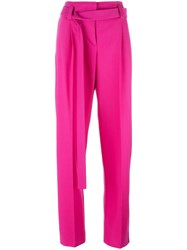 Cedric Charlier Belted Wide Leg Trousers Pink Purple