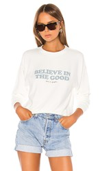Spiritual Gangster Believe Malibu Crew Neck In White. Stone