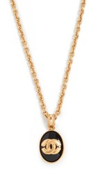 Wgaca What Goes Around Comes Around Chanel Black And Gold Necklace Black Gold