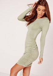 Missguided Long Sleeve Ruched Bodycon Dress Green Green