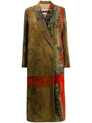 Uma Wang Double Breasted Patchwork Coat Brown