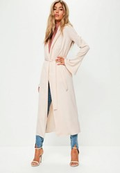 Missguided Premium Nude Satin Flared Sleeve Duster Jacket