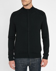 Ikks Black Quilted Shoulders Mock Collar Cardigan