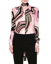 Emilio Pucci Tie Neck Button Front Monogram Print Blouse Nude Pink Women's Nude Pink