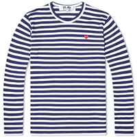 Comme Des Garcons Play Little Red Heart Long Sleeve Striped Tee Navy