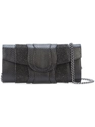 Khirma Eliazov X Swarovski Embellished Flap Clutch Women Calf Leather Swarovski Crystal Watersnake Skin One Size Black