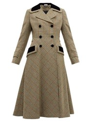 Miu Miu Checked Double Breasted Wool Blend Coat Green Multi