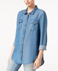 Velvet Heart High Low Chambray Shirt Dark Brushed Indigo