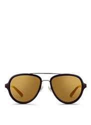 3.1 Phillip Lim X Linda Farrow Stainless Steel Rim Aviator Sunglasses Brown