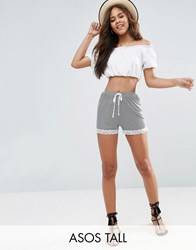 Asos Tall Stripe Shorts With Lace Hem Multi