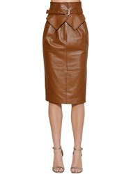 Alberta Ferretti High Waist Leather Midi Skirt Tan