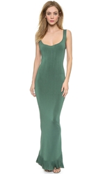 Wgaca Alaia Fishtail Gown Green