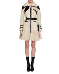 Alexander Mcqueen Shearling Fur Biker Coat White Black