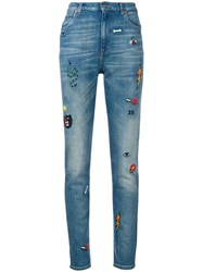 Gucci Embroidered Skinny Jeans Blue