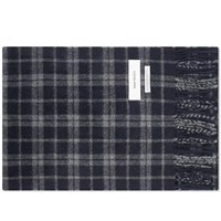 Norse Projects Lambswool Check Scarf Blue