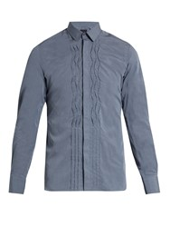 Lanvin Pleated Front Slim Fit Cotton Poplin Shirt Dark Grey
