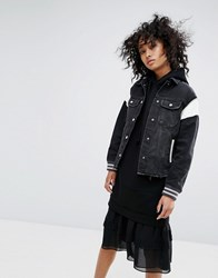 Allsaints Vintage Baseball Trucker Jacket Black