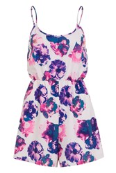 Wolf And Whistle Ivory And Lilac Floral Strappy Playsuit