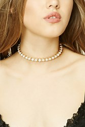 Forever 21 Faux Pearl Collar Necklace Gold Cream