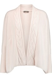 N.Peal Cashmere Waffle Knit Cashmere Cardigan White
