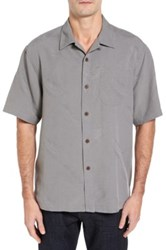 Tommy Bahama Rio Fronds Short Sleeve Silk Sport Shirt Big And Tall Gray