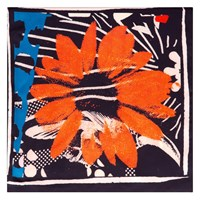 Bianca Elgar Orange Flowers Small Square Scarf Black White Blue