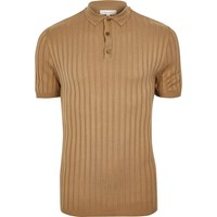 River Island Mens Brown Muscle Fit Ribbed Polo Shirt