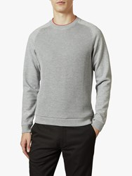 Ted Baker Pied Ribbed Front Cotton Sweatshirt Grey Marl
