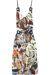 Christopher Kane Leather Trimmed Printed Silk Satin Midi Dress Off White