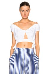 Thakoon Twist Side Crop Top In White