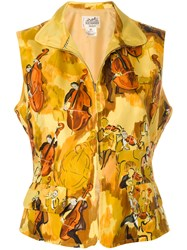 Hermes Vintage Orchestra Print Zipped Blouse Yellow And Orange