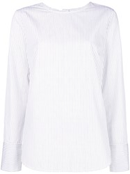 Odeeh Striped Round Neck Blouse White