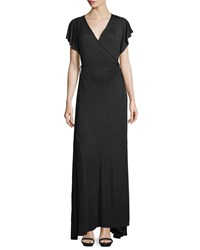 Melissa Masse Short Sleeve Maxi Wrap Dress Black