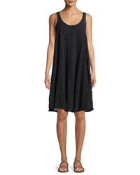 Johnny Was Mixed Eyelet Georgette Shift Dress With Slip Black