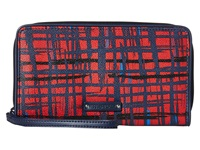 Vera Bradley Large Zip Around Wallet Navy Red Art Plaid Wallet Handbags