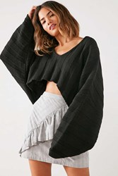 Silence And Noise Slouchy Ribbed High Low Sweater Black