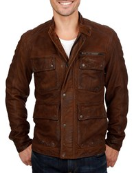Lucky Brand Leather Moto Safari Jacket Brown