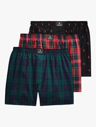 Ralph Lauren Check All Over Pony Cotton Boxers Pack Of 3 Green Red Black